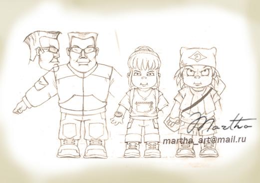 эскиз персонажей для PIPE studio