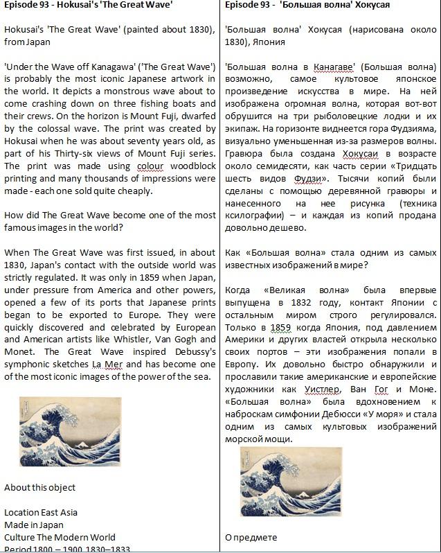 выпуск BBC - Episode 93 - Hokusai's 'The Great Wave' ENG->RU