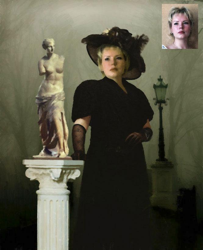 Женский портрет с обработкой под живопись_коллаж