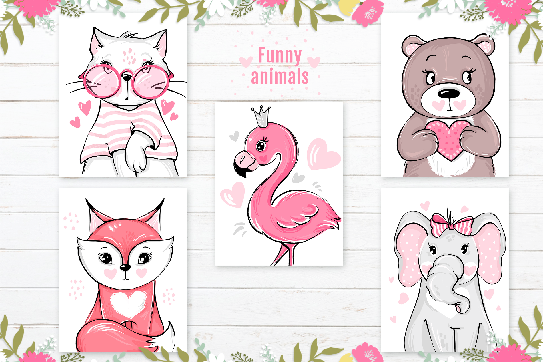 Разработать 5 изображений животных - добрые, веселые, яркие  фото f_3375c863a8792885.png