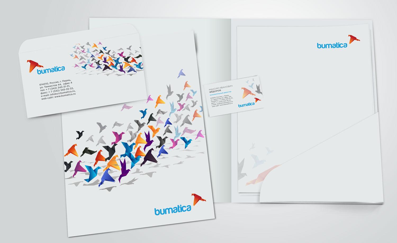 Логотип и фирменный стиль для компании Буматика