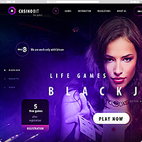 Верстка сайта онлайн казино «CasinoBit»