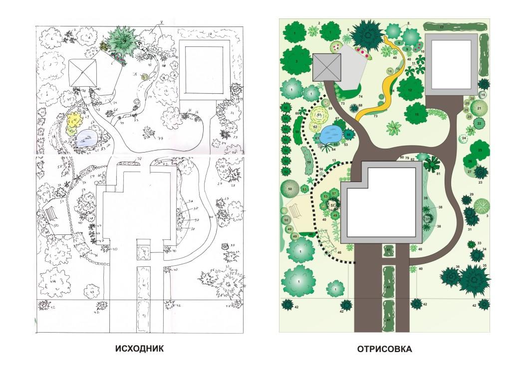 Отрисовка проекта ландшафтного дизайна