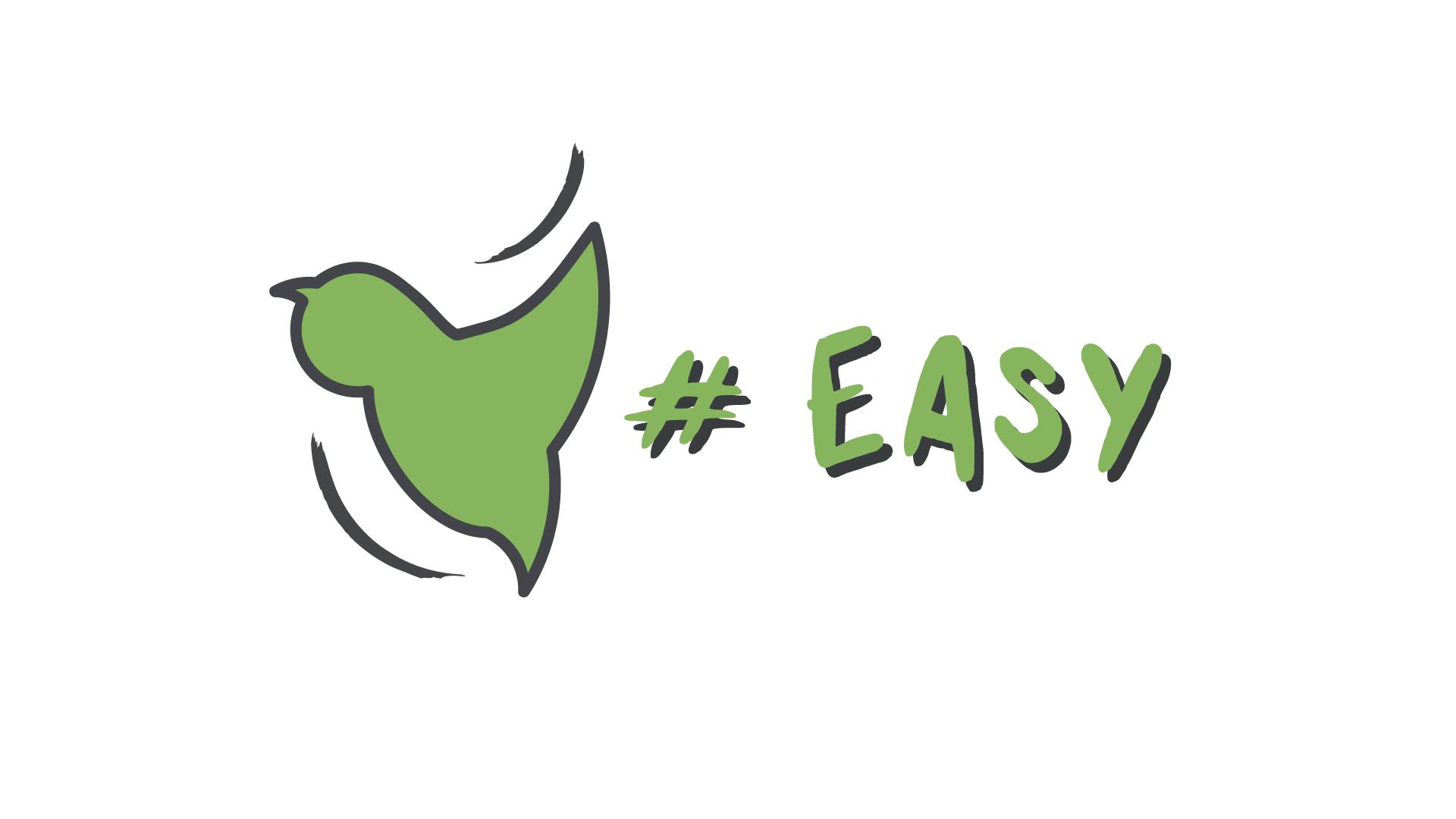 Разработка логотипа в виде хэштега #easy с зеленой колибри  фото f_6305d4ed08ed5693.jpg