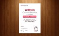 Сертификат о прохождении курсов английского