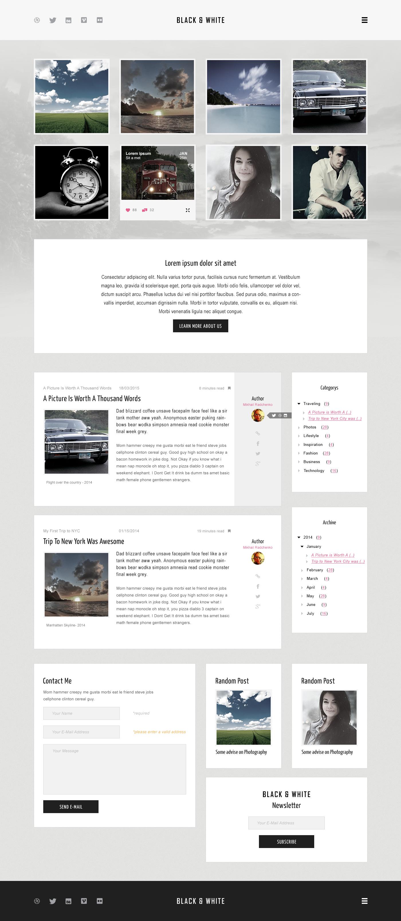 Дизайн одностраничного блога.
