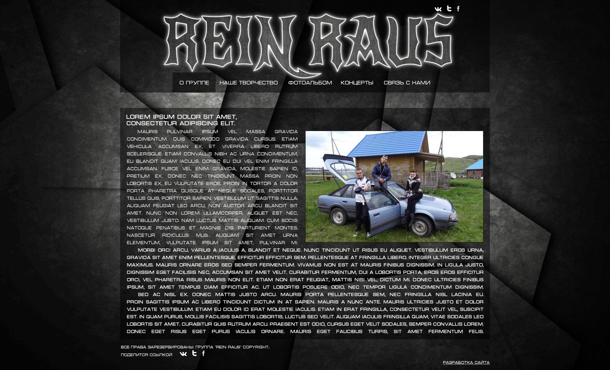 "Дизайн сайта рок-группы ""REIN RAUS"""