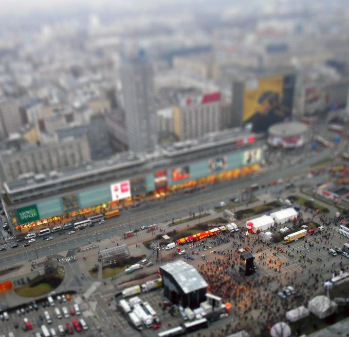 Warsaw tilt-shift effect