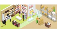 Интерьер магазина в изометрии