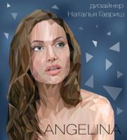 Angelina Jolie Pitt Портрет в стиле polygon pop-art в векторе