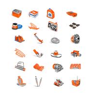 Иконки-автозапчасти оранжевые