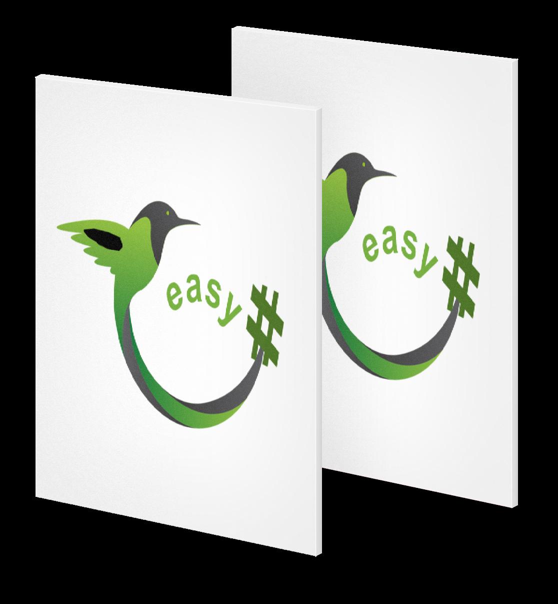 Разработка логотипа в виде хэштега #easy с зеленой колибри  фото f_6865d50592bd0329.png