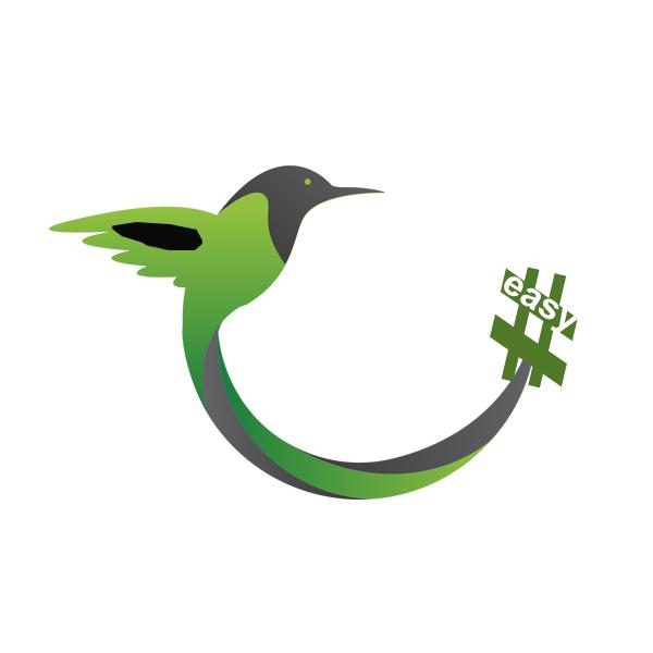 Разработка логотипа в виде хэштега #easy с зеленой колибри  фото f_9235d504fcc6ea42.jpg