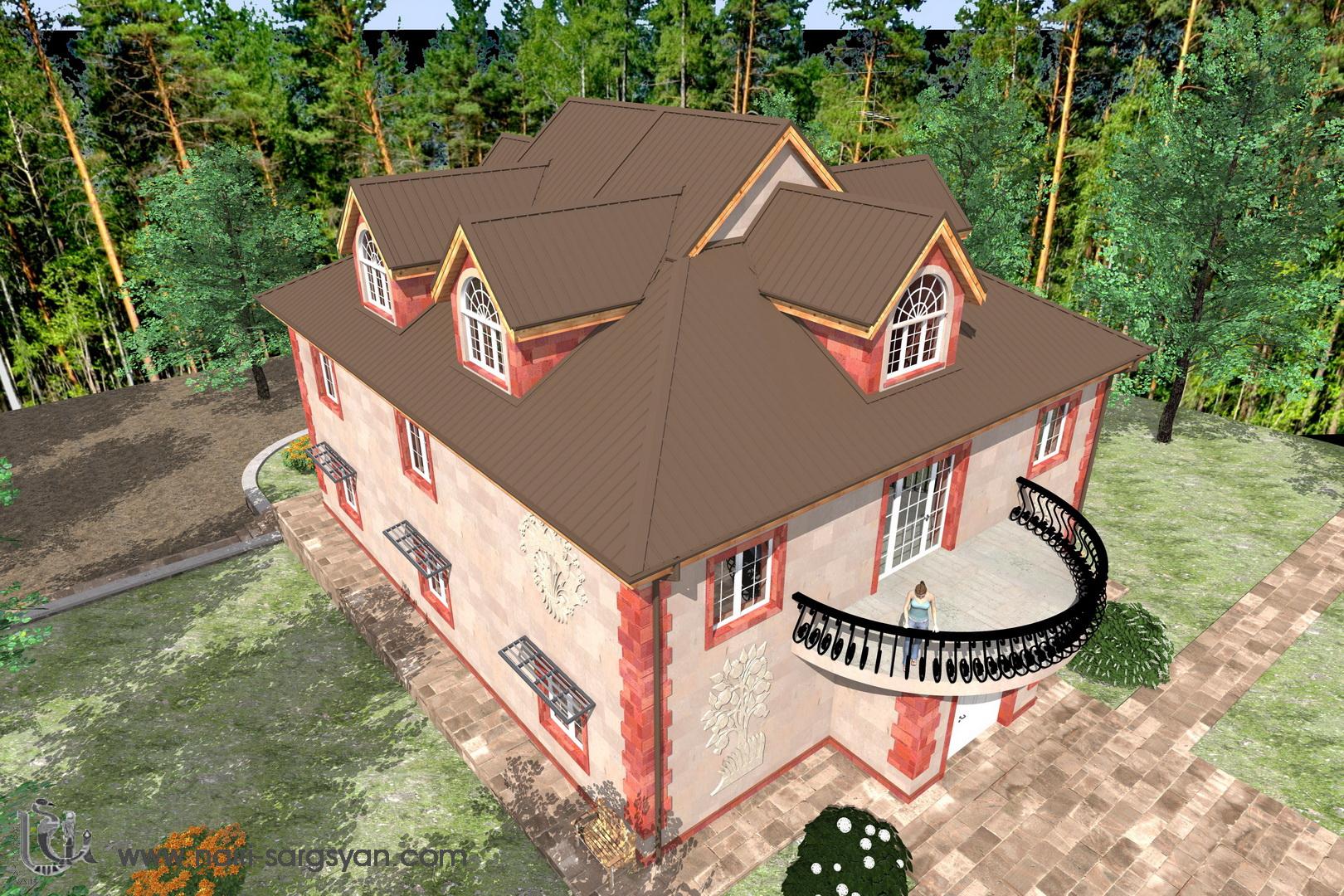 Архитектурный проект фасада коттеджа фото f_93254ac24ae314c1.jpg