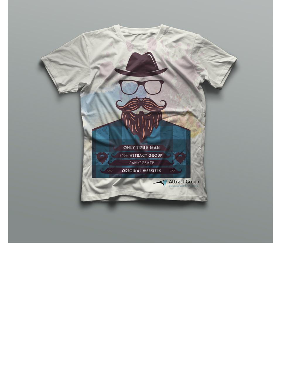 Принт для корпоративной футболки IT компании Attract Group