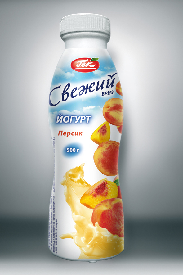 Этикетка Йогурта «Свежий бриз» Персик
