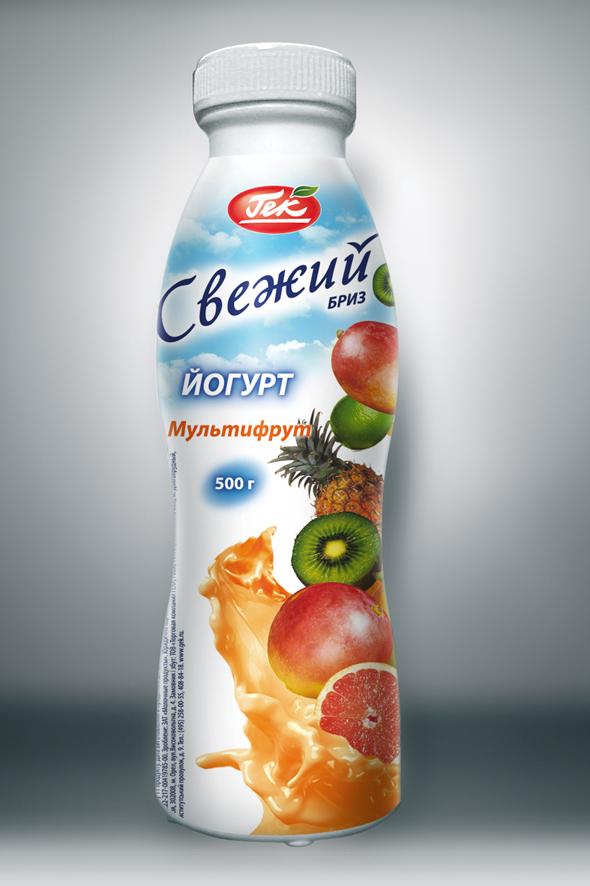 Этикетка Йогурта «Свежий бриз» Мультифрут
