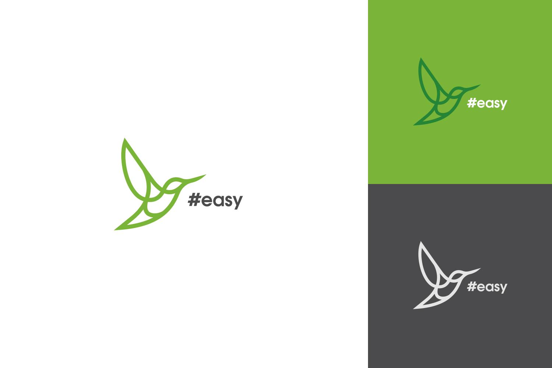 Разработка логотипа в виде хэштега #easy с зеленой колибри  фото f_5215d5193638d31a.jpg