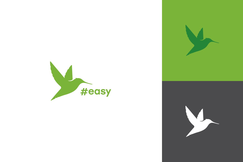 Разработка логотипа в виде хэштега #easy с зеленой колибри  фото f_6285d5287c260d63.jpg