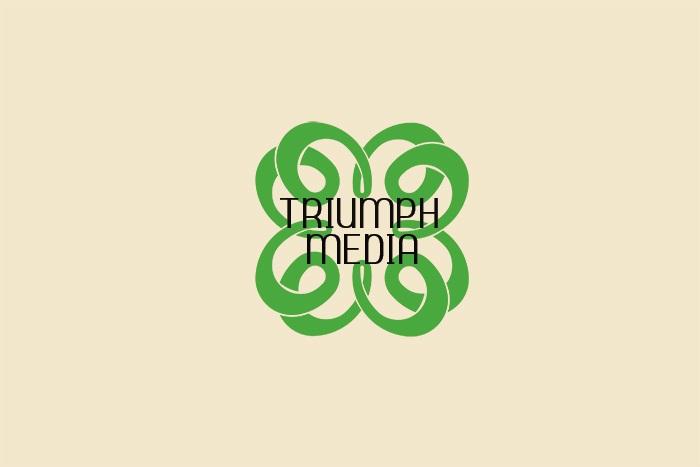 Разработка логотипа  TRIUMPH MEDIA с изображением клевера фото f_507804d7a66d7.jpg