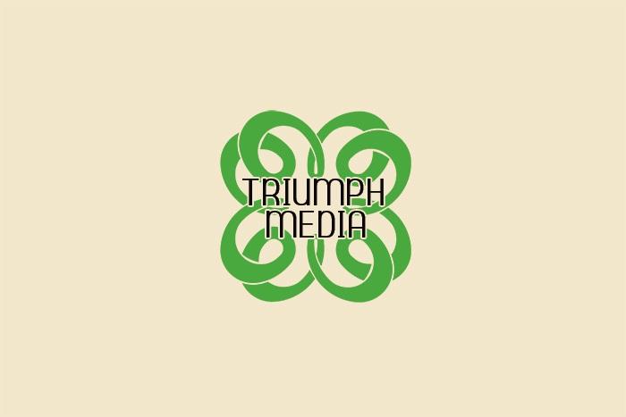 Разработка логотипа  TRIUMPH MEDIA с изображением клевера фото f_507804e1833fe.jpg