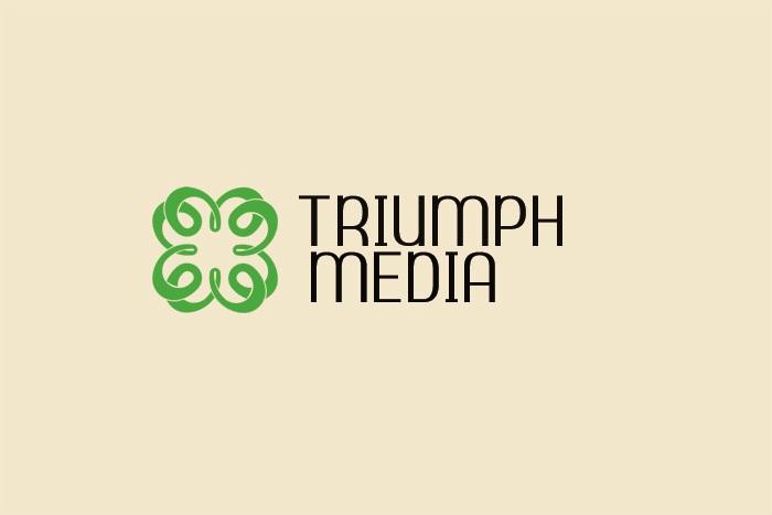 Разработка логотипа  TRIUMPH MEDIA с изображением клевера фото f_507804e8ee421.jpg