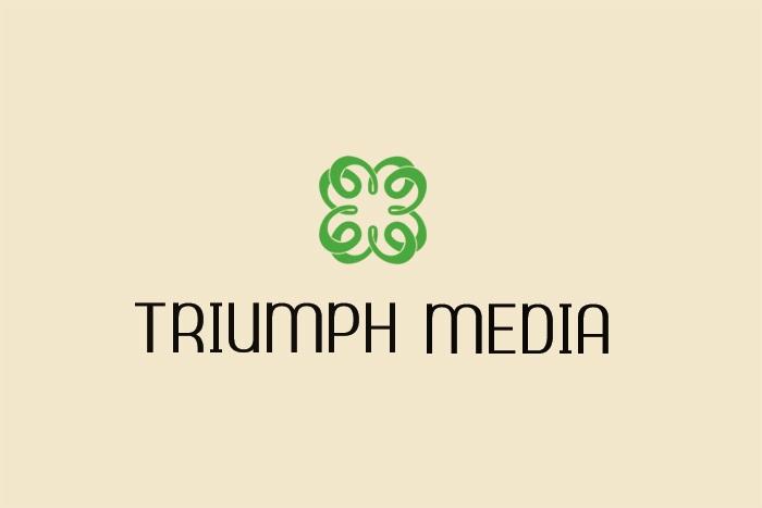 Разработка логотипа  TRIUMPH MEDIA с изображением клевера фото f_507804f892655.jpg