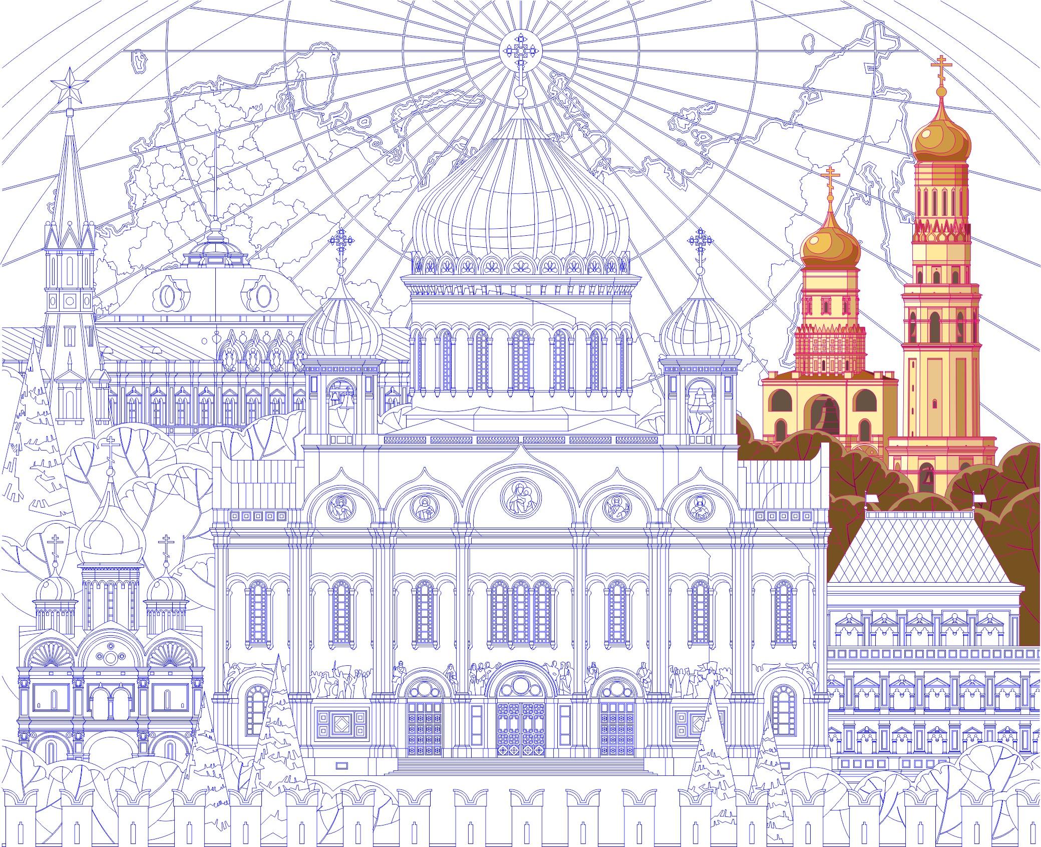 Отрисовка с растра. Переговорная в Кремле. Формат 3 х 2,75 м