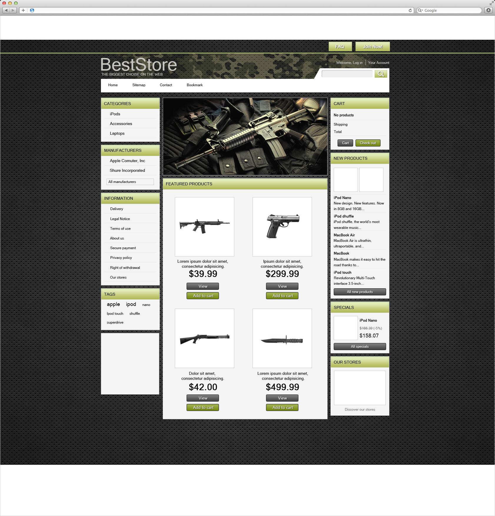 Интернет магазин пневматического оружия (2013 г.)