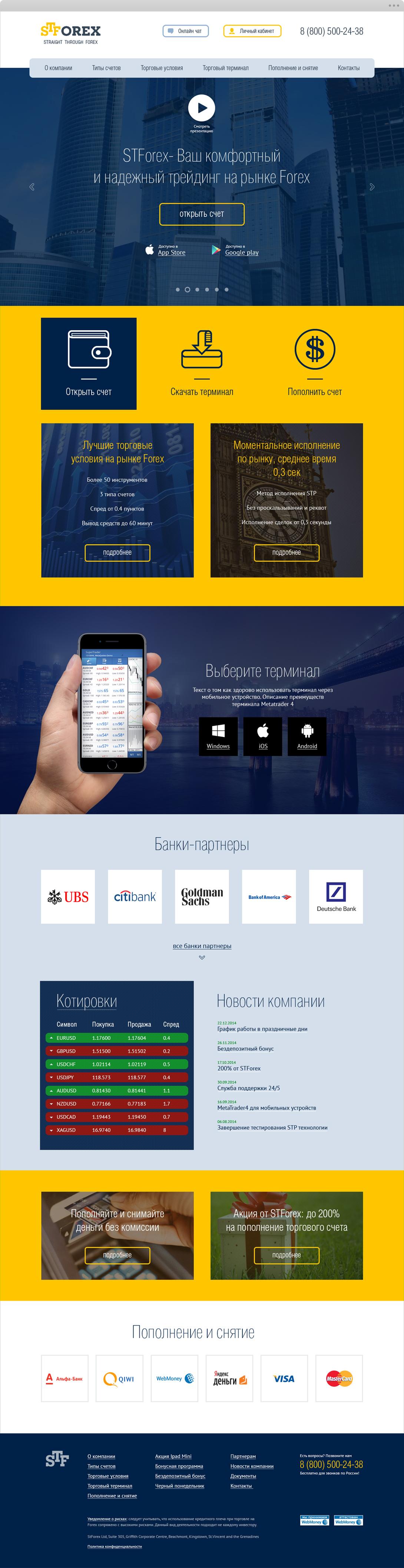 Сайт для финансовой компании STForex