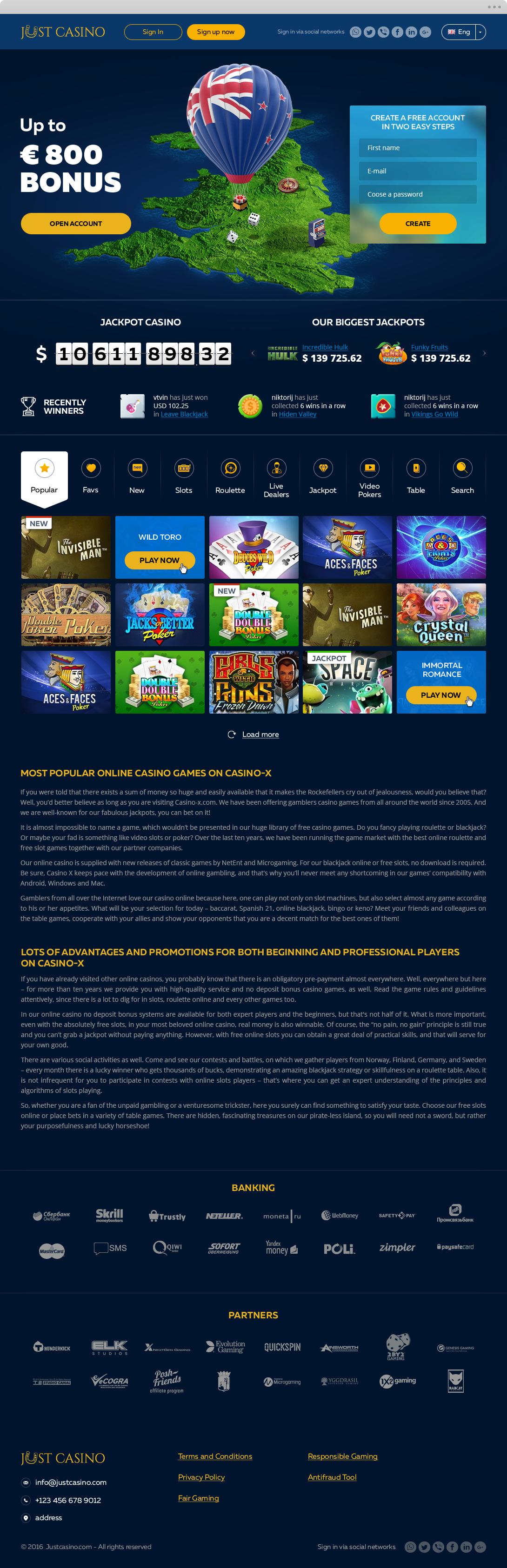 Дизайн сайта для Just Casino