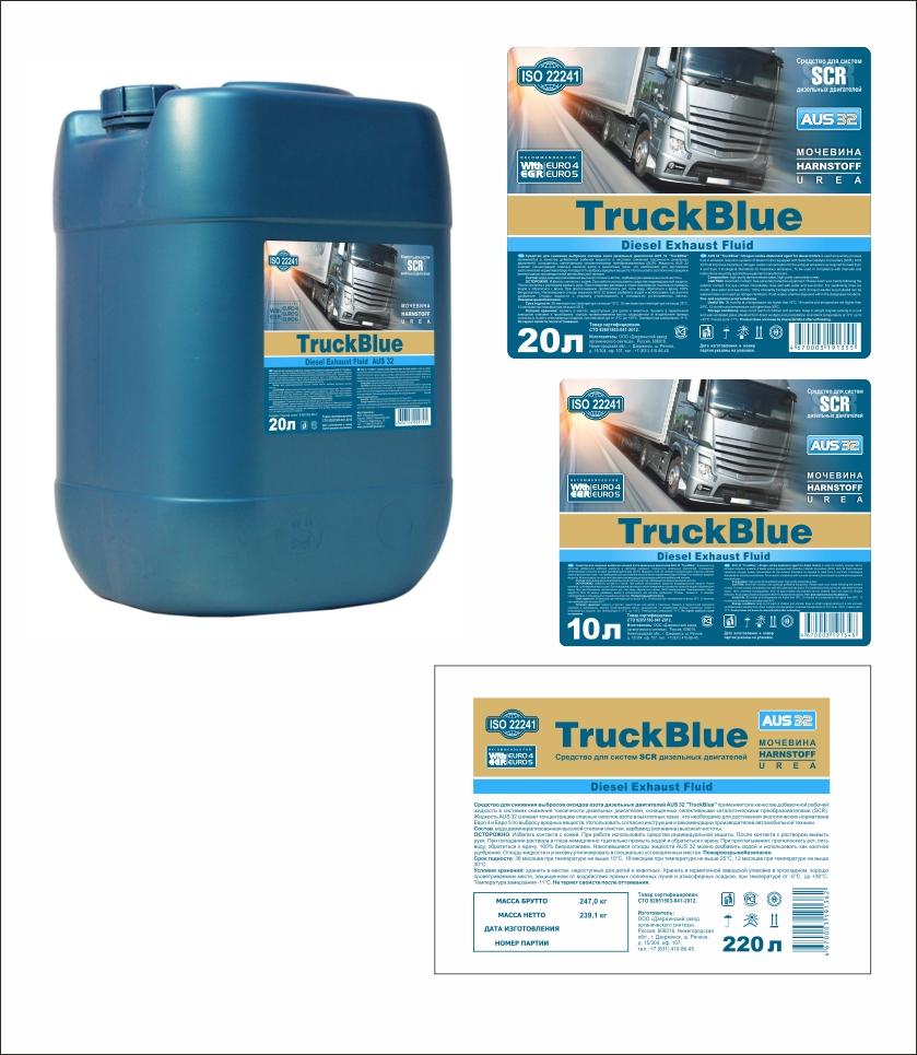 Дизайн этикеток на канистру и бочку для TruckBlue