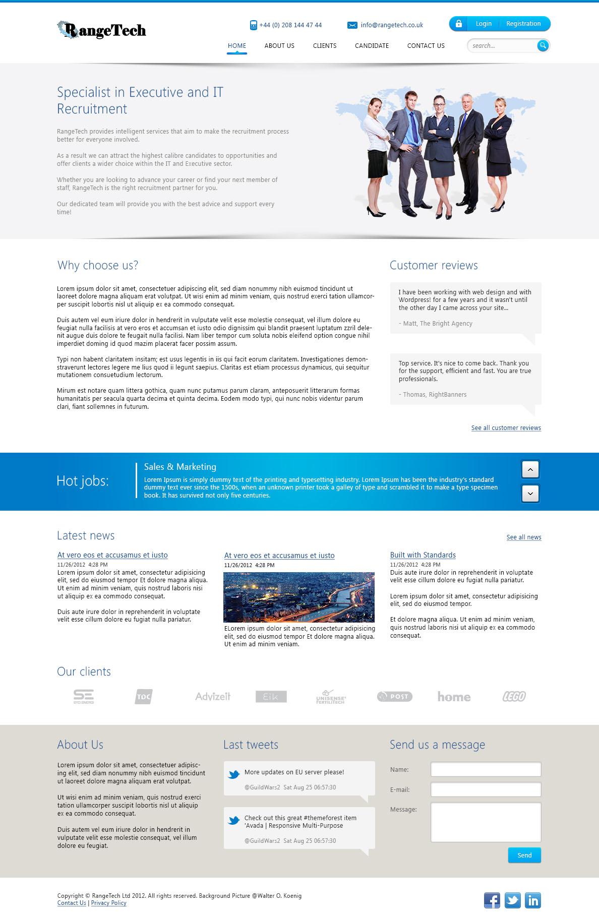 Дизайн сайта для компании RangeTech