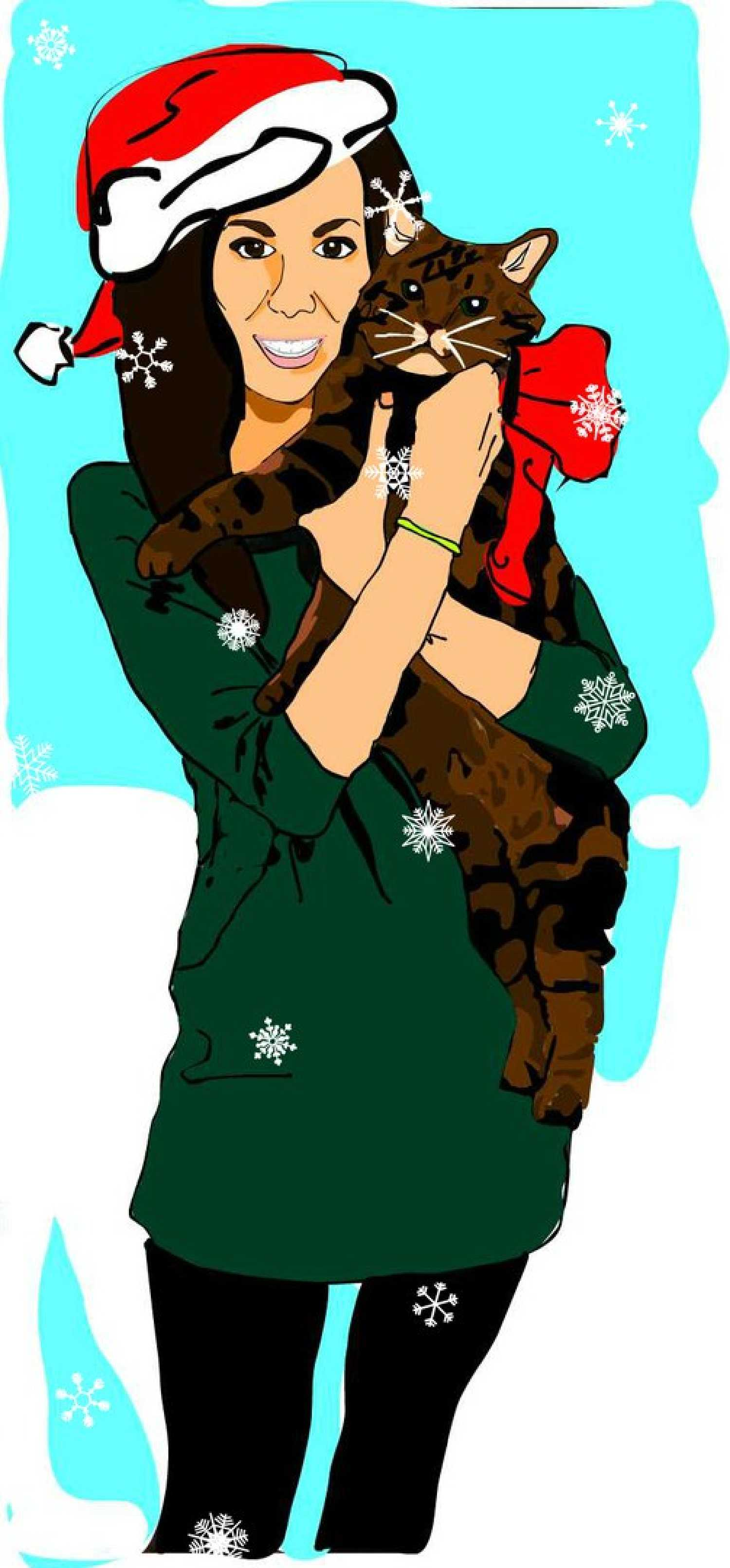 Девушка и кот (выполнена по фото)