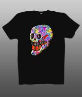 Принт на футболку череп цветной