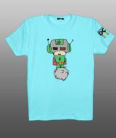 Принт на футболку космонавтик на бирюзовом