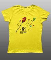 Принт на женскую футболку розы на желтом