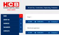Сайт для размещения вакансий компании HCB