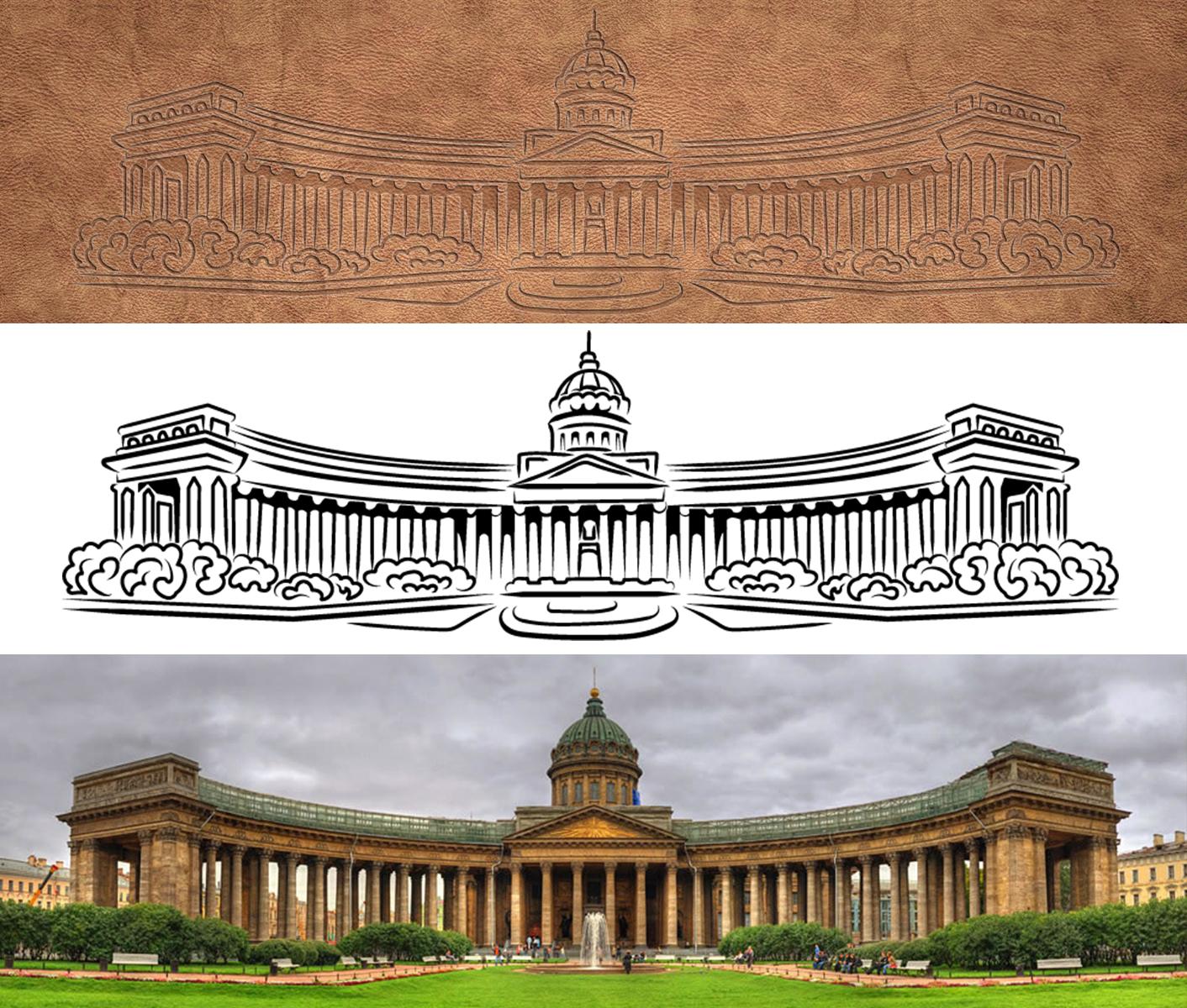 Казанский кафедральный собор. Графика для штампа на коже.