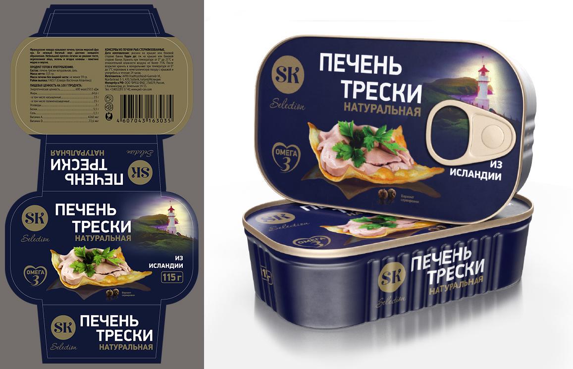 Изготовление концепции упаковки для линейки консервов, литография и рукав