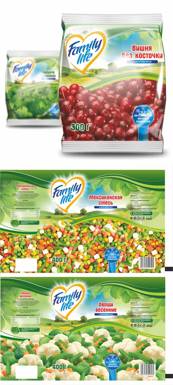 Упаковка мороженных овощей и фруктов 10 видов