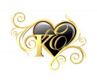 Монограмма на буквы Е и К в сердце