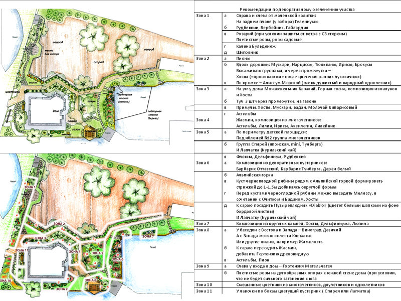 Зонирование и рекомендации по озеленению