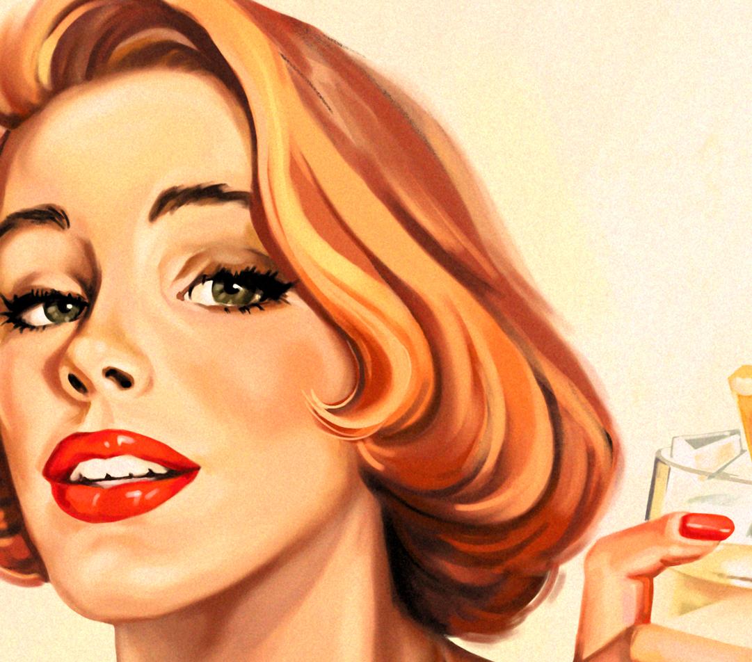 Иллюстрация рекламный постер GIN (retro advertising posters)