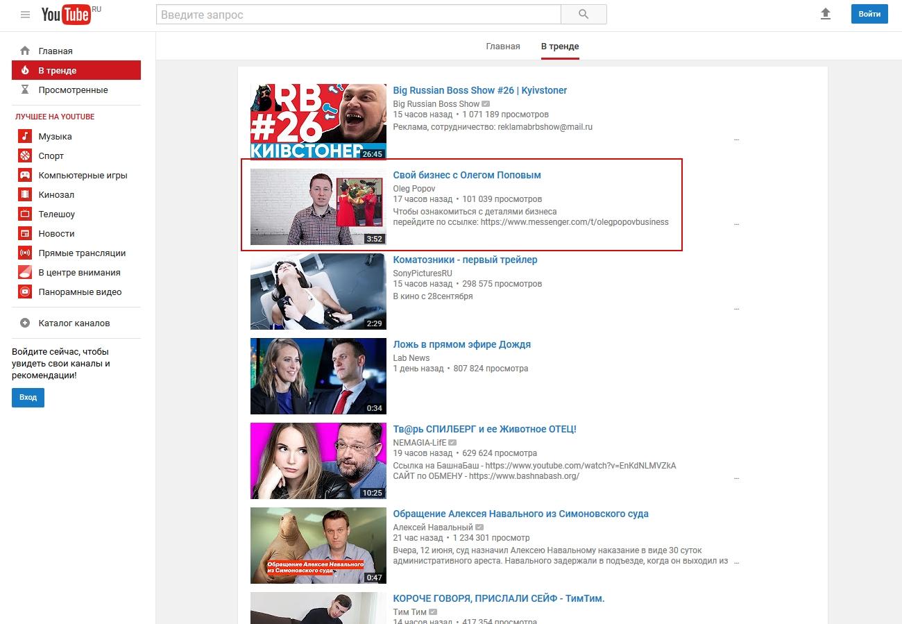 Выведение видеоролика в ТОП Трендов Youtube (Ютуб)