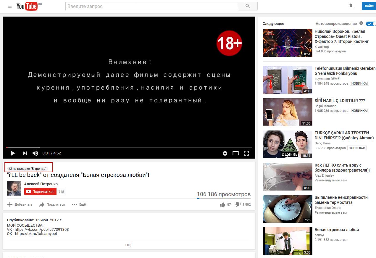 Выведение видео в ТОП ТРЕНДОВ Ютуба