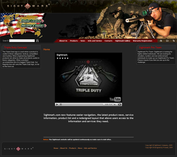Промо-сайт компании «Sightmark»