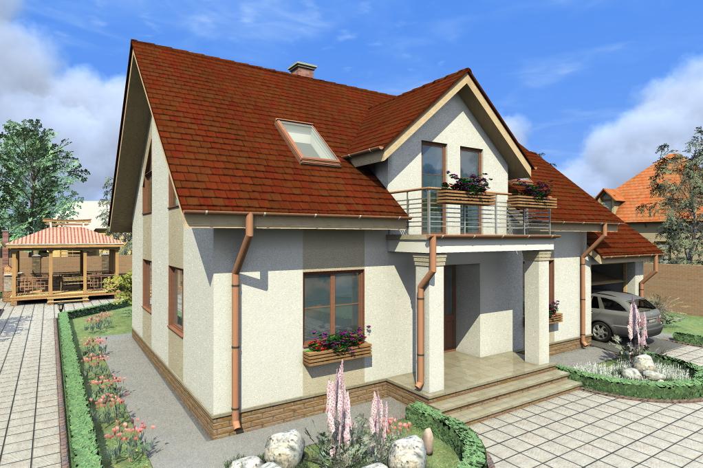 Проект жилого дома с мансардным