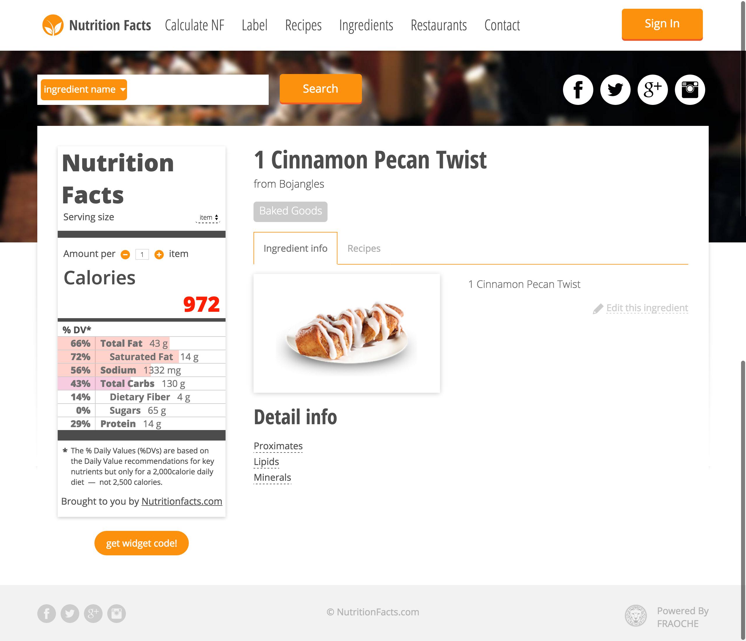 NutritionFacts - База калорийности рецептов