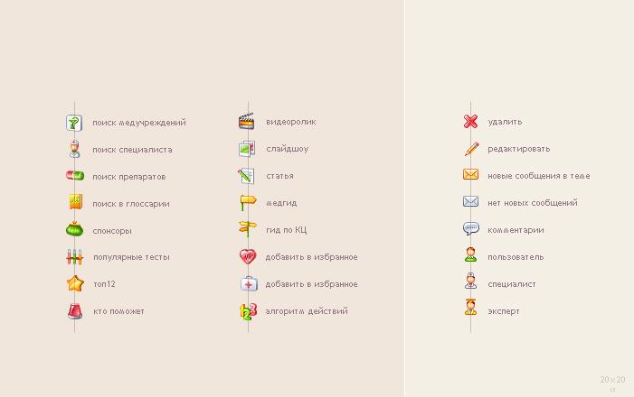 Иконки для медпортала (20х20)